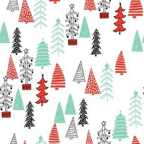 christmas trees // red green christmas tree forest woodland holiday cute kids christmas fabric by andrea lauren