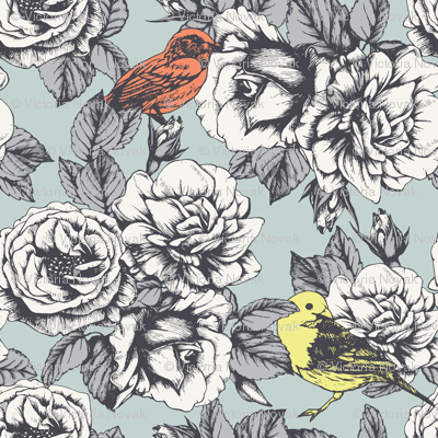 Roses and  Birds.