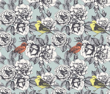 Roses and  Birds.  fabric by victoria_novak_ on Spoonflower - custom fabric
