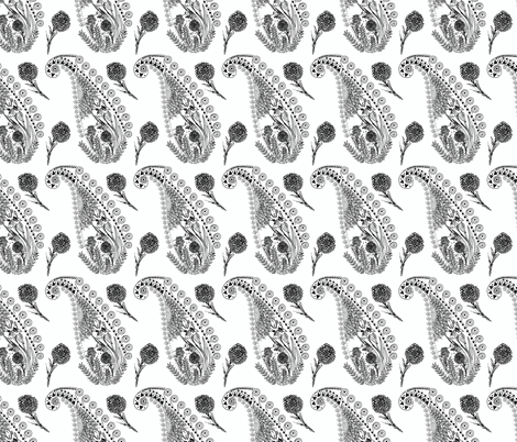 Charcoal Paisley fabric by paisleylady on Spoonflower - custom fabric