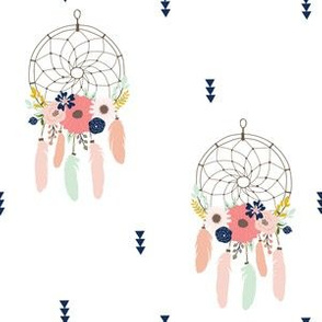 Boho Dream Catchers Floral Detail Mint Blush Navy Coral Gold