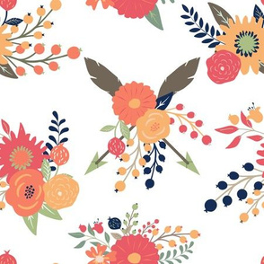 autumn Blooms in Fall orange coral peach tan Floral