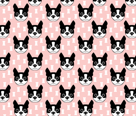 boston-terrier-and-dog-biscuits-on-pink-background fabric by lilcubby on Spoonflower - custom fabric