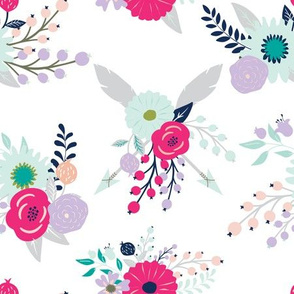 Modern Blooms in Hot Pink Lavender Navy Green and Grey