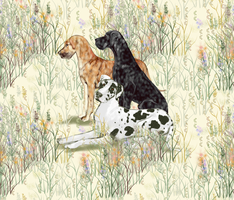 Harlequin Black and Brindle Great Danes in Wildflowers for Pillow fabric by eclectic_house on Spoonflower - custom fabric