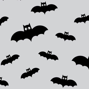 bats on ultra light slate grey » halloween monochrome