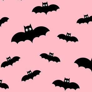 bats on light baby pink » halloween