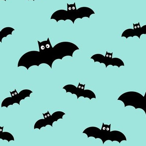 bats on light baby teal blue » halloween