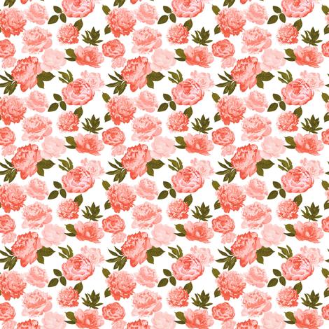 Pretty peonies mini fabric by mintpeony on Spoonflower - custom fabric