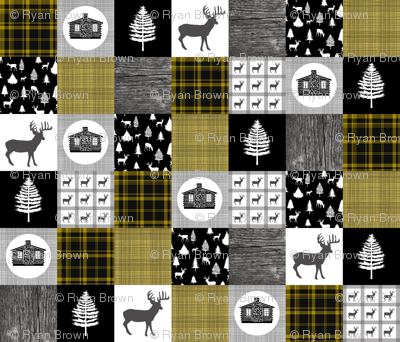 Cozy Cabin Wholecloth Quilt Top || Yellow Plaid