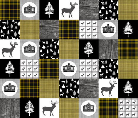 Cozy Cabin Wholecloth Quilt Top || Yellow Plaid fabric by thinlinetextiles on Spoonflower - custom fabric