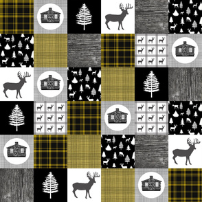 Cozy Cabin Wholecloth Quilt Top    Yellow Plaid