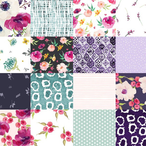 Purple Floral with Minty Polka Dots - Whole Cloth / Cheater Quilt