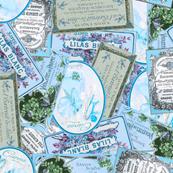 Vintage Labels in Blue