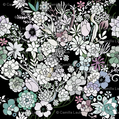 Colorful black detailed floral pattern