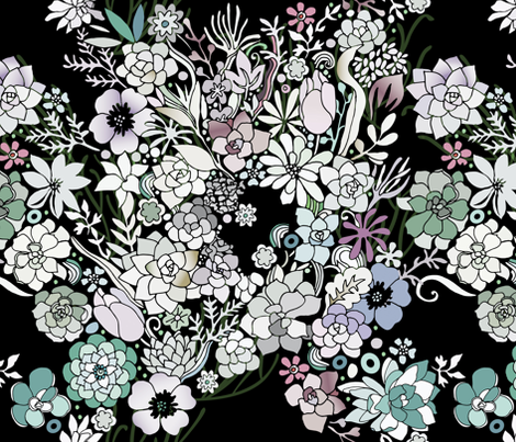 Colorful black detailed floral pattern fabric by camcreative on Spoonflower - custom fabric