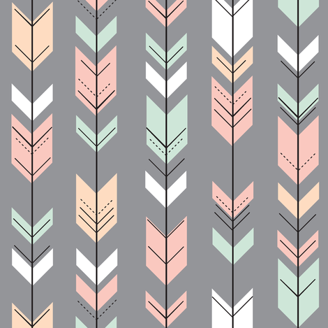 fletching arrows (small scale) on grey || the willow woods collection fabric by littlearrowdesign on Spoonflower - custom fabric