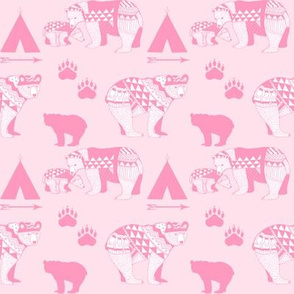 6-AZTEC Geo_Bear_Family_Indian_Tribal Tee_Pee_Arrow_Paw_print_PINK-FINAL
