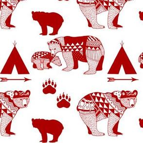 6-Geo_Bear_Family_Indian Tribal_Tee_Pee_Arrow_Paw_print_Drk_RED-FINAL