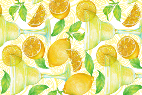 cocktails with lemon fabric by isamelisa on Spoonflower - custom fabric
