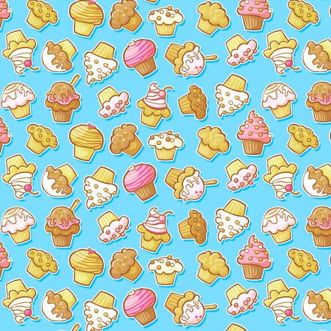 Muffin & Cupcake Party Blue fabric by maraliem on Spoonflower - custom fabric
