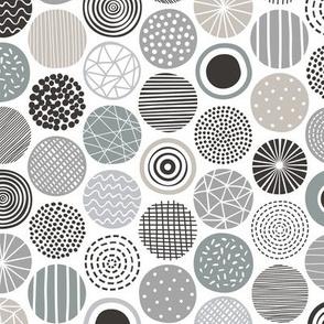 Dots Geometrical Patterned Black&White Grey