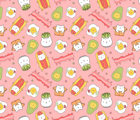 Funny succulent, hot dog, bacon and egg cats fabric by kostolom3000 on Spoonflower - custom fabric