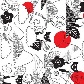 Shiba inu, cherry blossom and doodles clouds. Japanese dog and flowers design. Rotated