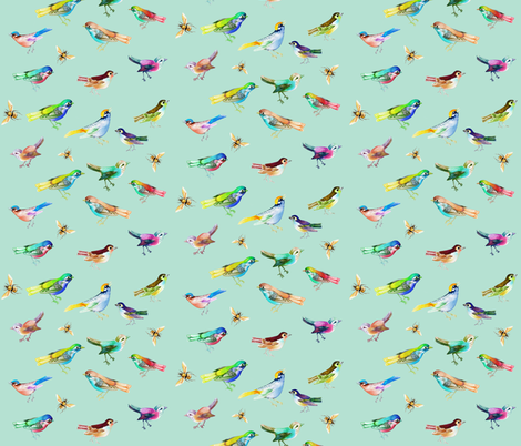Songbirds Mixed Seafoam fabric by thistleandfox on Spoonflower - custom fabric