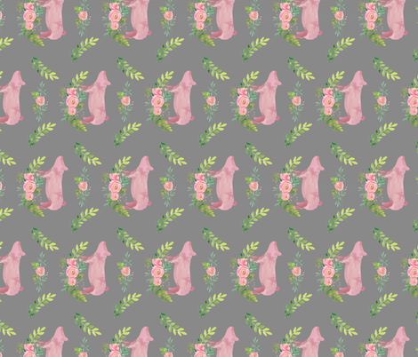 Showstock & Roses - Pigs  fabric by thecraftyblackbird on Spoonflower - custom fabric