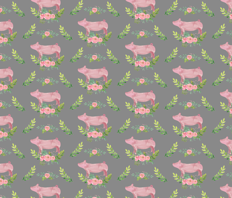 Showstock & Roses - Pigs *NEW SMALLER REPEAT fabric by thecraftyblackbird on Spoonflower - custom fabric