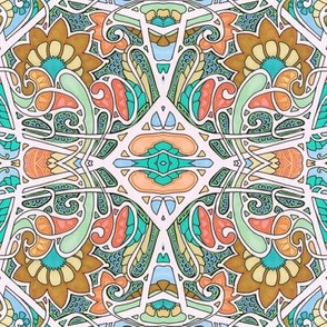 Southwestern Art Nouveau Hexagon Dance