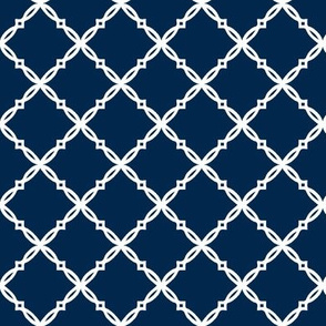 Michigan Navy Blue Diamond Trellis