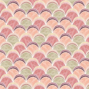 Abstract waves in salmon and green