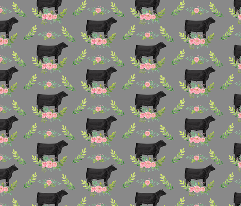 Showstock & Roses - Steers - NEW SMALLER REPEAT fabric by thecraftyblackbird on Spoonflower - custom fabric