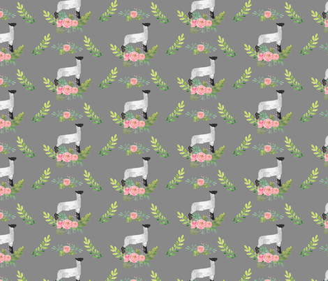 Showstock & Roses - Lamb  *NEW SMALLER REPEAT fabric by thecraftyblackbird on Spoonflower - custom fabric