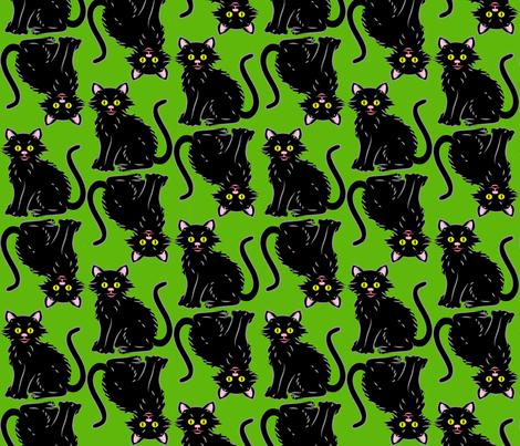 Halloween Kitten green fabric by enid_a on Spoonflower - custom fabric