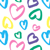 Colorful Hearts with Love (Big) / Happy Rainbow Colored Hand Drawn Valentine's Day Hearts / I Love You Baby