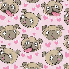 Small Fawn Pugs and Hearts