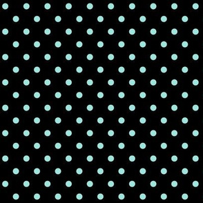 halloween » dotty light baby teal blue on black