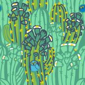 owl + saguaro in dew + asparagus