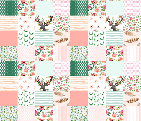 Floral Dreams Deer - Whole Cloth / Cheater Quilt fabric by shopcabin on Spoonflower - custom fabric