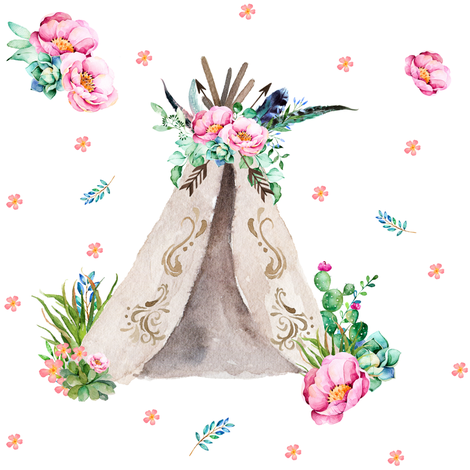 "Pink & Aqua Teepee in 8"" fabric by shopcabin on Spoonflower - custom fabric"