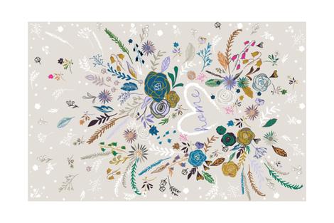 'Home is where my heart is' Tea Towel fabric by nouveau_bohemian on Spoonflower - custom fabric