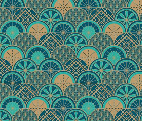 Art Deco Fruit Cocktail - Peacock fabric by ceciliamok on Spoonflower - custom fabric