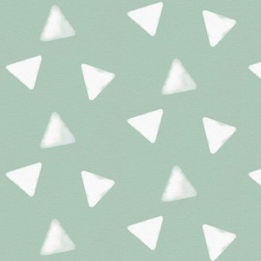 Watercolor triangles - white on mint geometric || by sunny afternoon