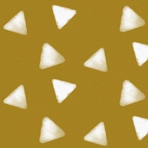 Watercolor triangles - white and golden mustard
