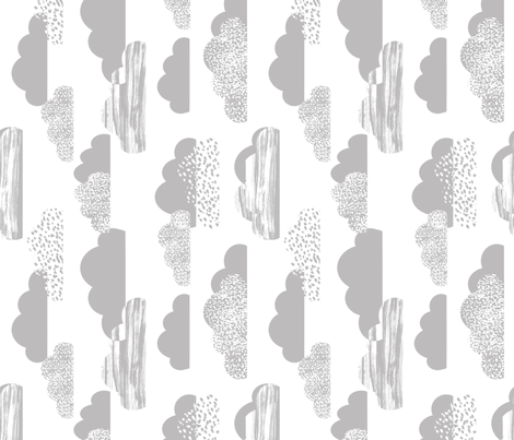 clouds white grey baby nursery fabric clouds fabric light grey fabric clouds nursery cute painted fabric by charlottewinter on Spoonflower - custom fabric