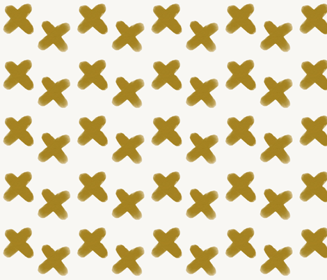 watercolor crosses - mustard  fabric by sunny_afternoon on Spoonflower - custom fabric