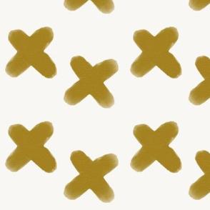 watercolor crosses - mustard